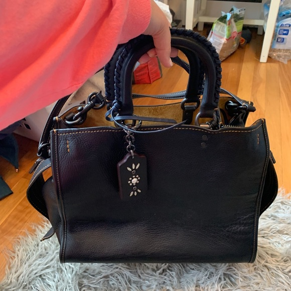 6164215ef8 Black coach multi strap business bag NWT